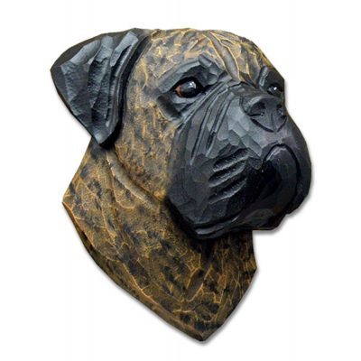 Bull Mastiff Head Plaque Figurine Brindle