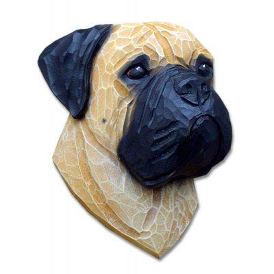Bull Mastiff Head Plaque Figurine Fawn