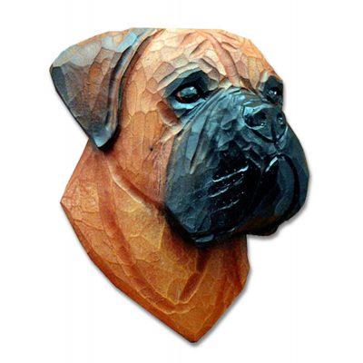 Bull Mastiff Head Plaque Figurine Red