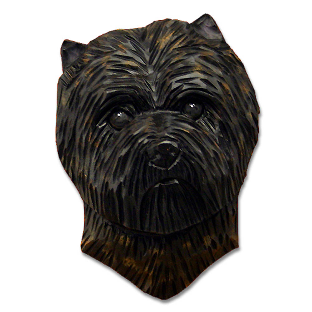 Carin Terrier Head Plaque Figurine Black/Brindle