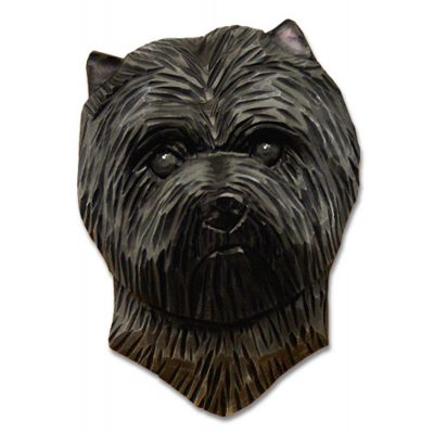 Carin Terrier Head Plaque Figurine Dark Grey 1