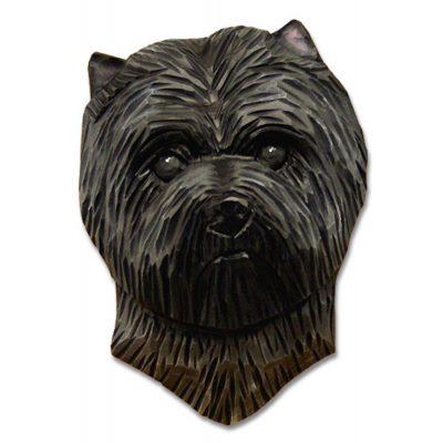 Carin Terrier Head Plaque Figurine Dark Grey