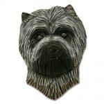 Carin Terrier Head Plaque Figurine Light Grey