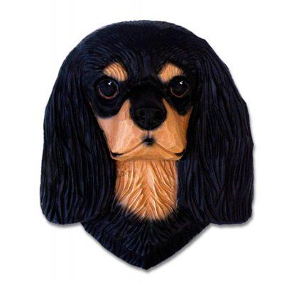 Cavalier King Charles Spaniel Head Plaque Figurine Black & Tan 1