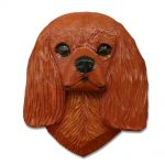 Cavalier King Charles Spaniel Head Plaque Figurine Ruby