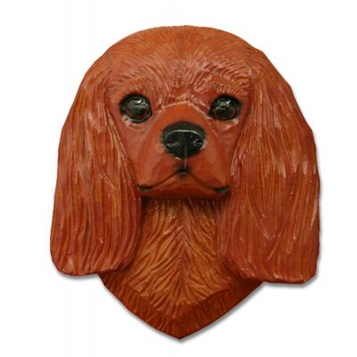 Cavalier King Charles Spaniel Head Plaque Figurine Ruby 1