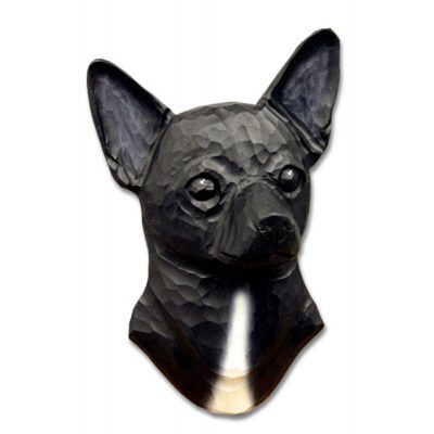 Chihuahua Head Plaque Figurine Black 1