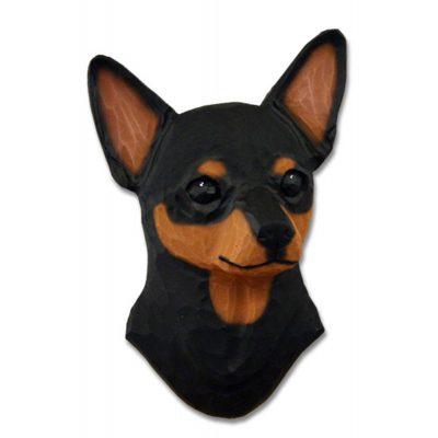 Chihuahua Head Plaque Figurine Black/Tan