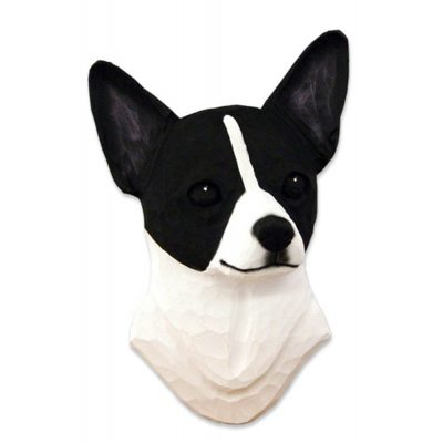 Chihuahua Head Plaque Figurine Black/White 1