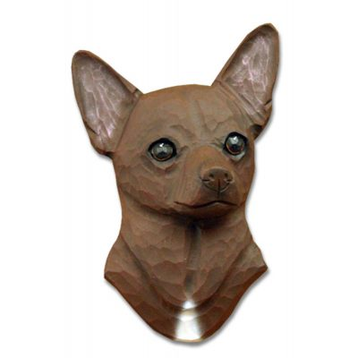 Chihuahua Head Plaque Figurine Brown 1