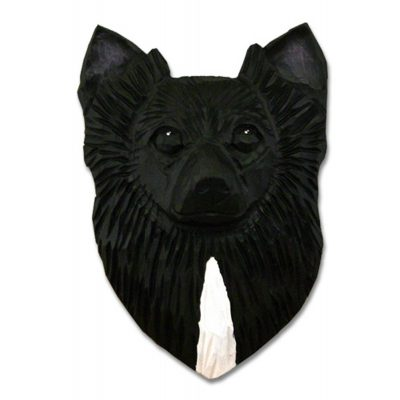 Chihuahua Head Plaque Figurine Black Longhair 1