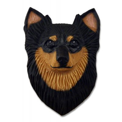 Chihuahua Head Plaque Figurine Black/Tan Longhair 1
