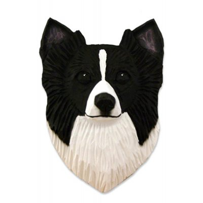 Chihuahua Head Plaque Figurine Black/White Longhair 1