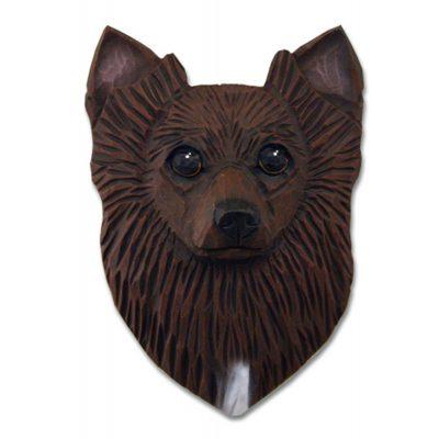 Chihuahua Head Plaque Figurine Brown Longhair 1