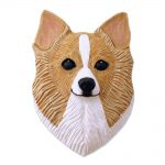 Chihuahua Head Plaque Figurine Fawn/White Longhair