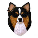 Chihuahua Head Plaque Figurine Tri Longhair 1