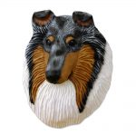 Collie Head Plaque Figurine Blue Merle Rough