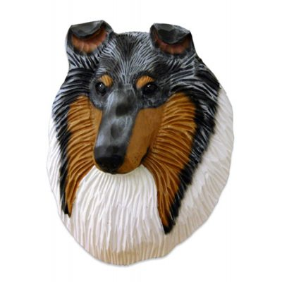 Collie Head Plaque Figurine Blue Merle Rough 1