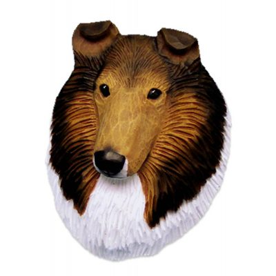 Collie Head Plaque Figurine Sable Rough 1