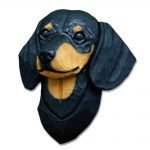 Dachshund Head Plaque Figurine Black & Tan Smooth