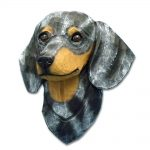 Dachshund Head Plaque Figurine Blue Dapple Smooth