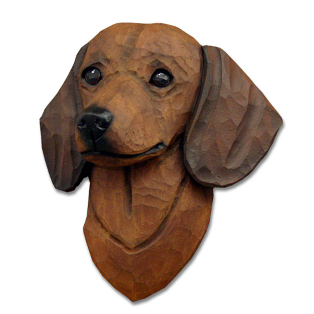 Dachshund Head Plaque Figurine Brown Smooth