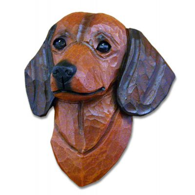 Dachshund Head Plaque Figurine Red Smooth