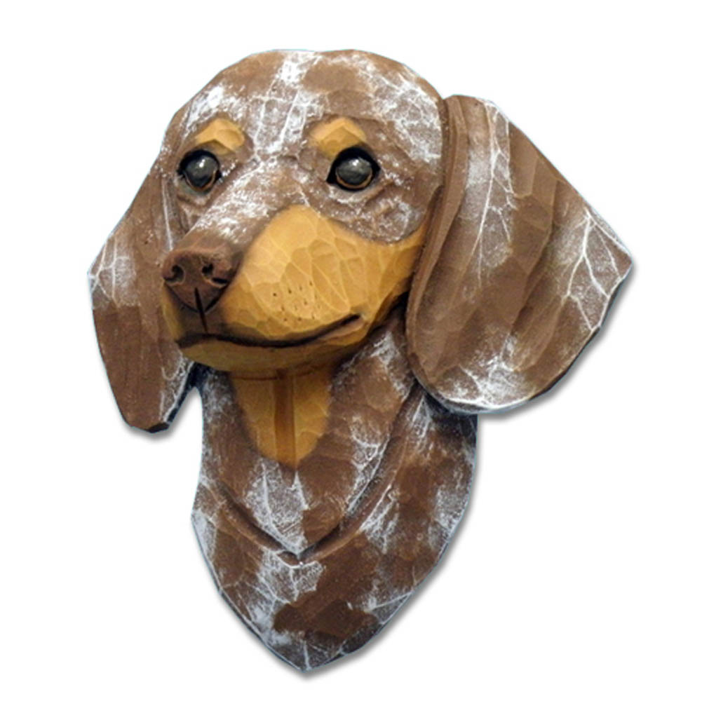 Dachshund Head Plaque Figurine Red Dapple Smooth