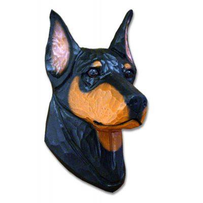 Doberman Pinscher Head Plaque Figurine Black/Tan