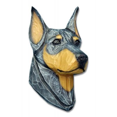 Doberman Pinscher Head Plaque Figurine Blue/Tan