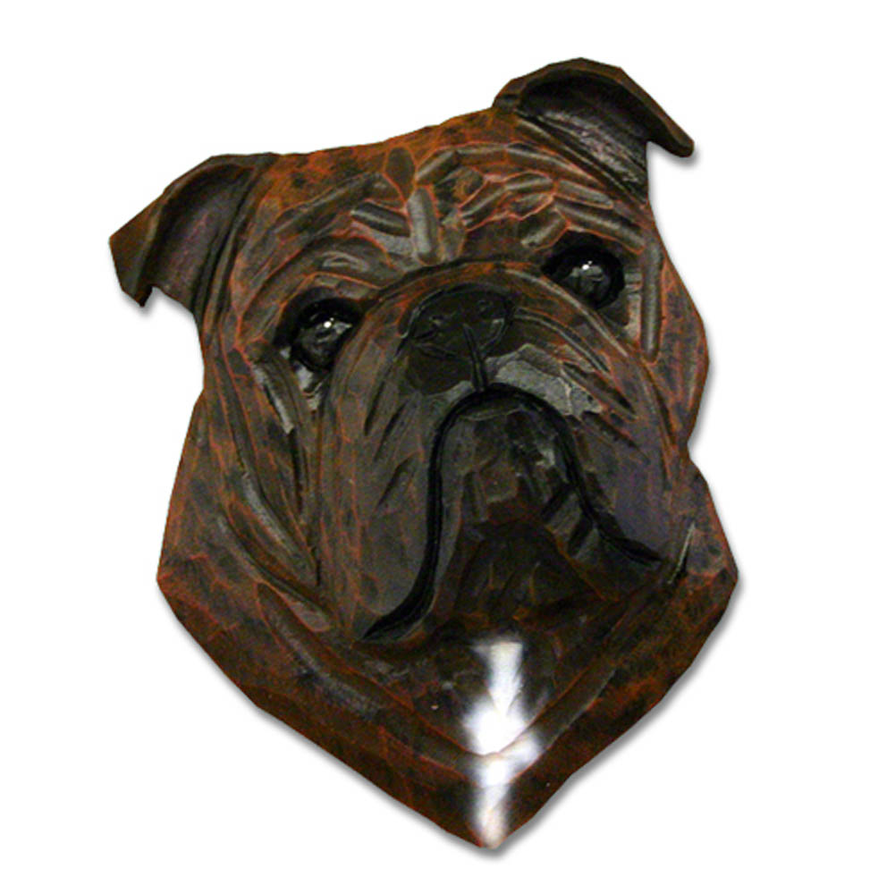 English Bulldog Head Plaque Figurine Brindle