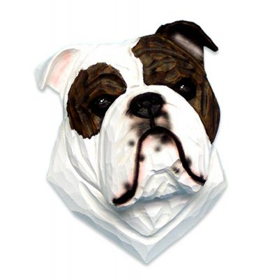 English Bulldog Head Plaque Figurine Brindle/White 1