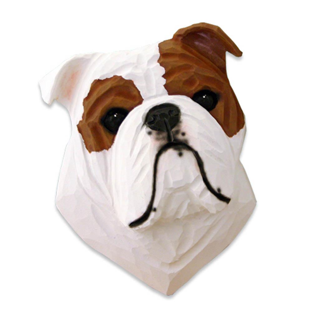 English Bulldog Head Plaque Figurine Red