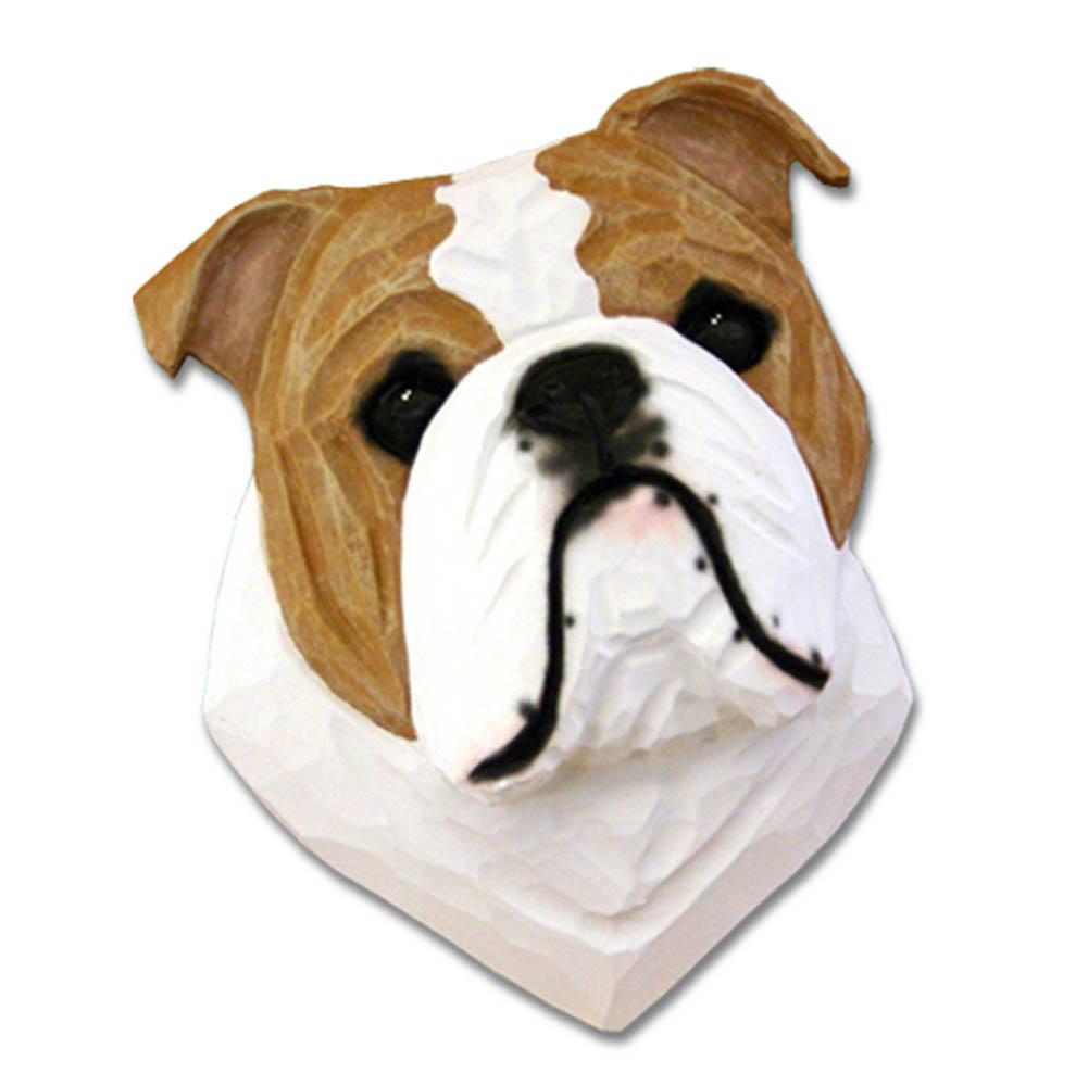 English Bulldog Head Plaque Figurine Tan