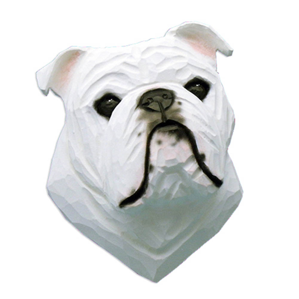 English Bulldog Head Plaque Figurine White