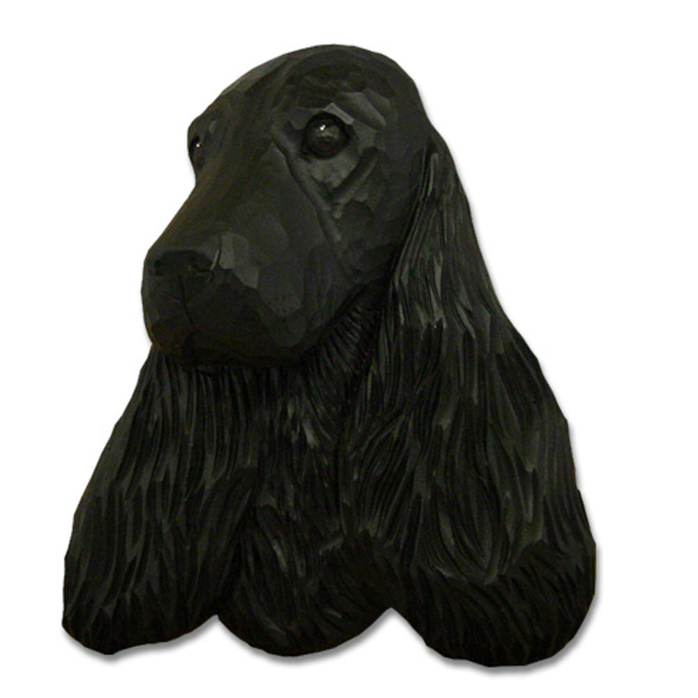 English Cocker Spaniel Head Plaque Figurine Black