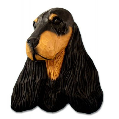 English Cocker Spaniel Head Plaque Figurine Black/Tan 1