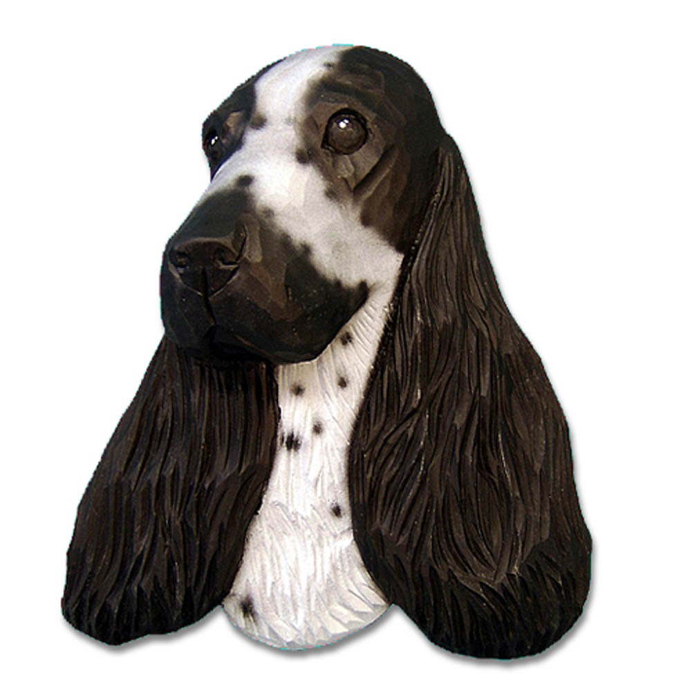 English Cocker Spaniel Head Plaque Figurine Blue Roan
