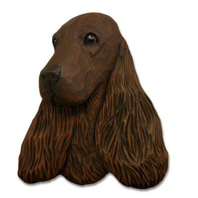 English Cocker Spaniel Head Plaque Figurine Liver 1