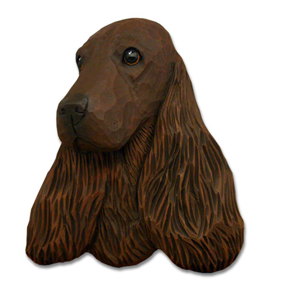 English Cocker Spaniel Head Plaque Figurine Liver