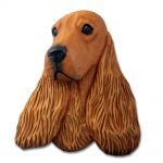 English Cocker Spaniel Head Plaque Figurine Red