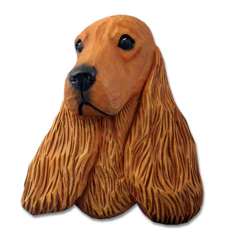 English Cocker Spaniel Head Plaque Figurine Red