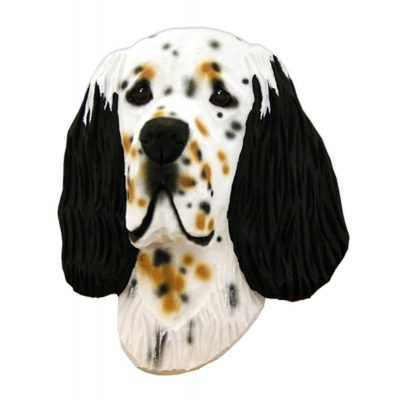 English Setter Head Plaque Figurine Tri 1