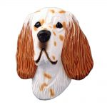 English Setter Head Plaque Figurine Orange Belton