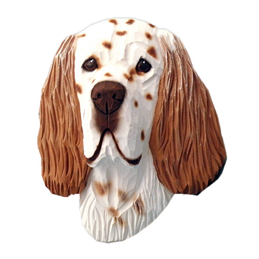 English Setter Head Plaque Figurine Liver Belton