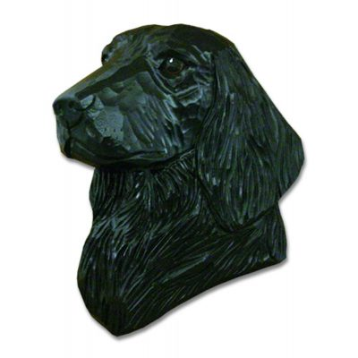 Flat Coated Retriever Head Plaque Figurine Black