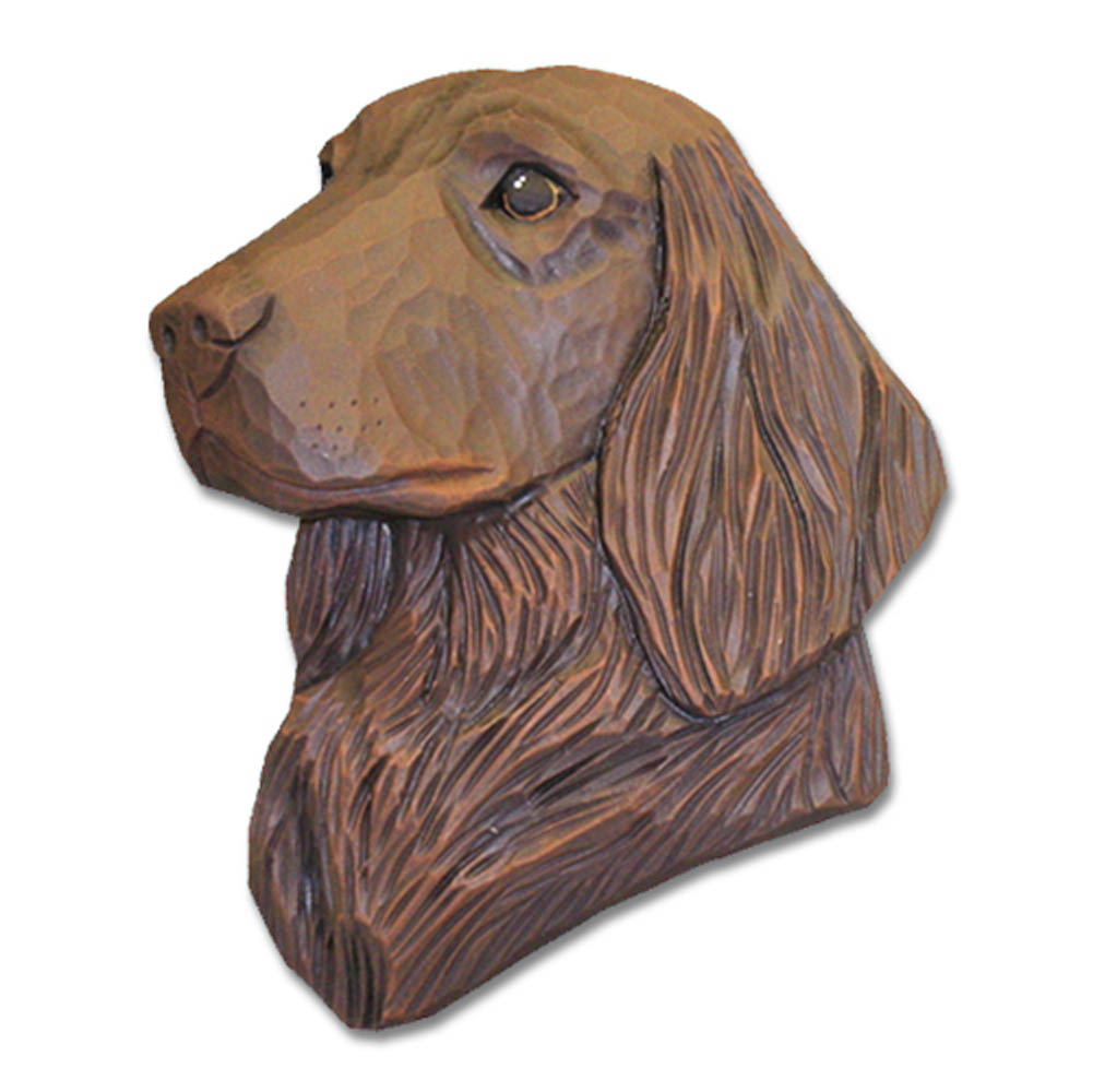 Flat Coated Retriever Head Plaque Figurine Liver