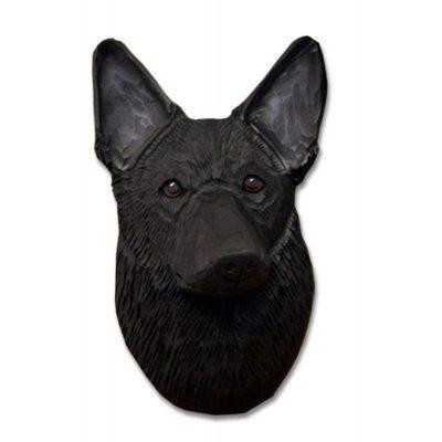 German Shepherd Head Plaque Figurine Black 1
