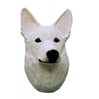 German Shepherd Head Plaque Figurine White 1