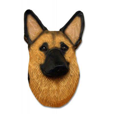 German Shepherd Head Plaque Figurine Gold W/Black Saddle